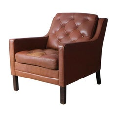 1970s Danish Midcentury Leather Lounge Chair