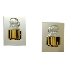 Pair of Wall Lamps Brass and Glass 1970s by Kjell Munch, Høvik Lys, Norway