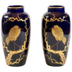 Pair of French Porcelain Cobalt Blue Vases with Birds