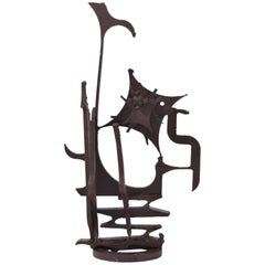 Large Brutalist Wrought Iron Sculpture