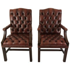 Libraryish Pair of Chesterfield Sumptuous Tufted Leather Armchairs