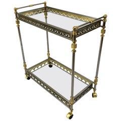 Divinely Elegant Italian Brass and Nickel Bar Cart