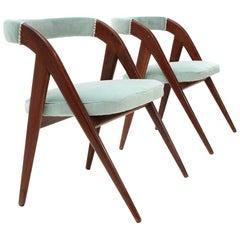 Italian Midcentury Azure Velvet Chair, 1950s, Set of 2
