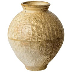 Elegant and Massive Pottery Vase with White Ceramic Glaze Color by Steen Kepp
