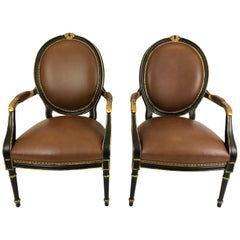 Fit for Royalty Pair of Supple Brown Leather and Ebonized Gilded Armchairs