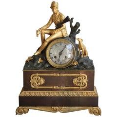 Charles X Clock, Hunter and Dog