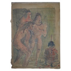 Rare Old Quadriptyc of Watercolor Paintings Native Americans with Early Settlers