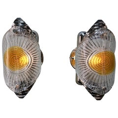 Pair of Murano Blown Glass Wall Sconces by Mazzega