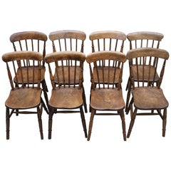 Rare Set of 8 Victorian Windsor Spindle Back Dining Chairs Solid Carved Elm