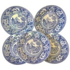 Set of Six Blue & White Plates Elephant Chinoiserie Pagoda Burslem