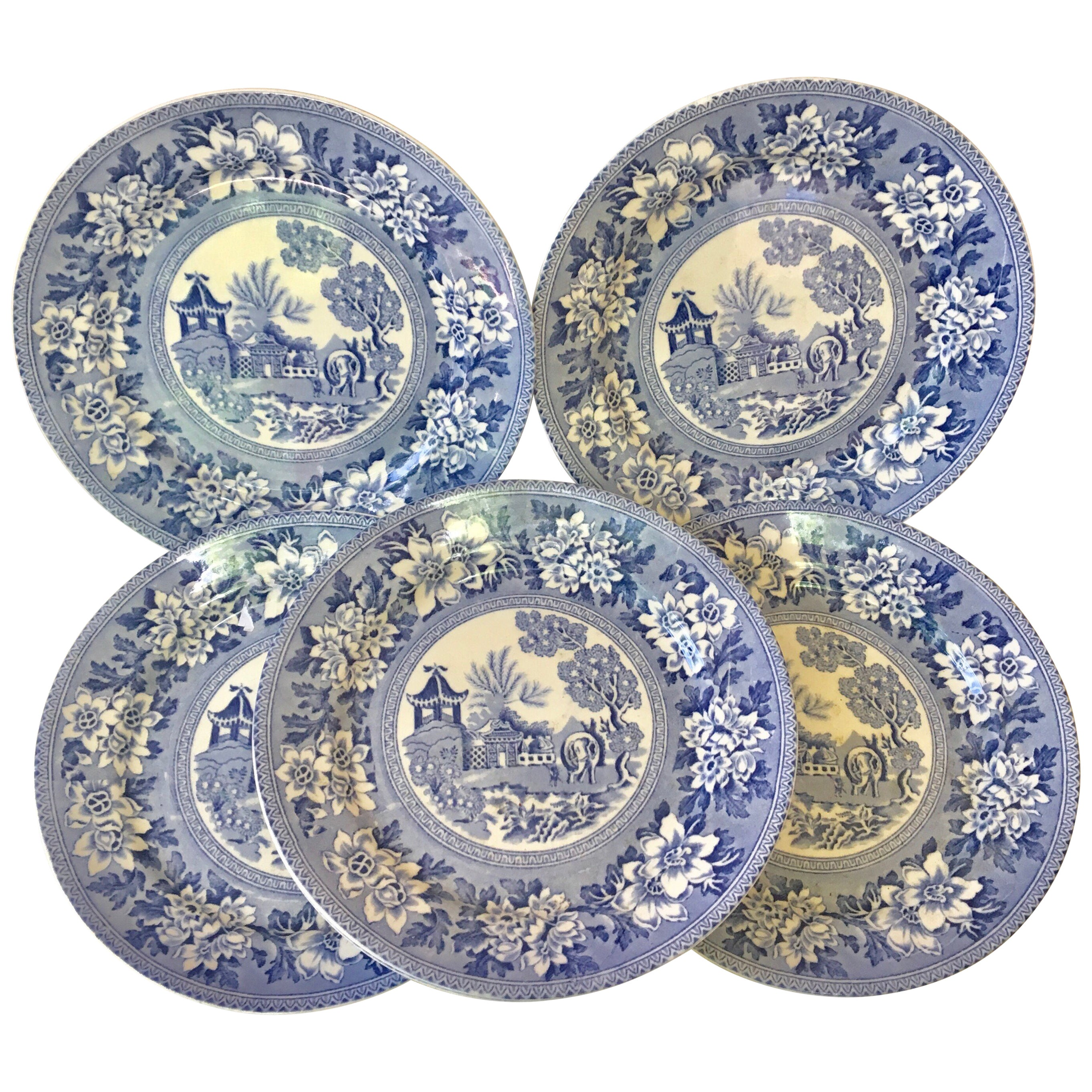 Set of Six Blue & White Plates Elephant Chinoiserie Pagoda Burslem