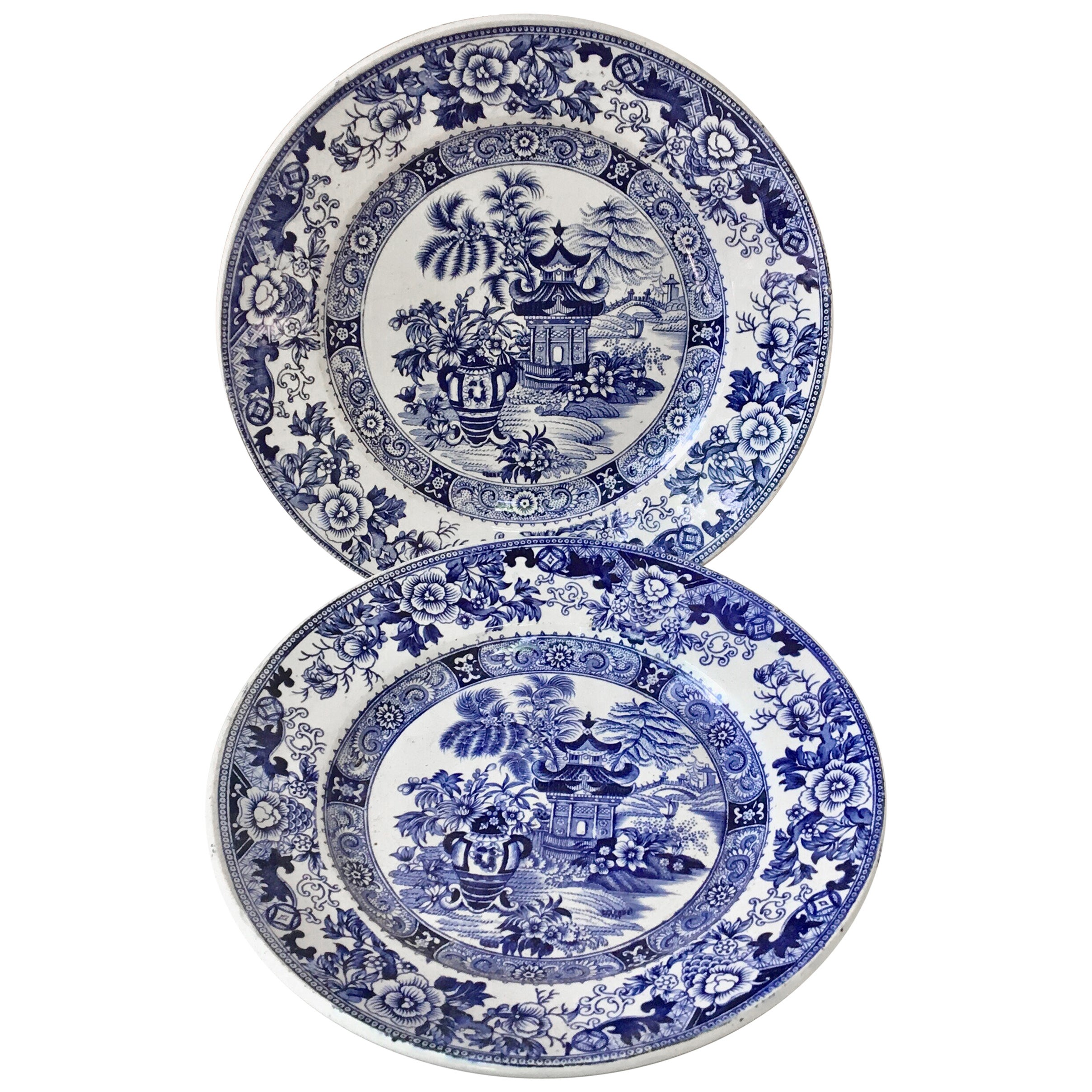 Pair of 19th Century French Blue and White Chinoiserie Plate Creil et Montereau