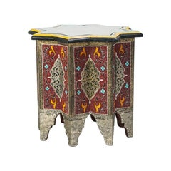 Moroccan Hand Painted and Brass Inlaid End or Lamp Table