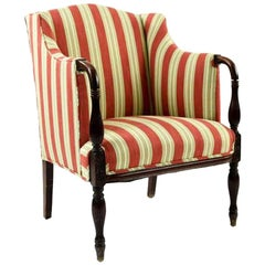 Vintage Sheraton-Style Upholstered Armchair