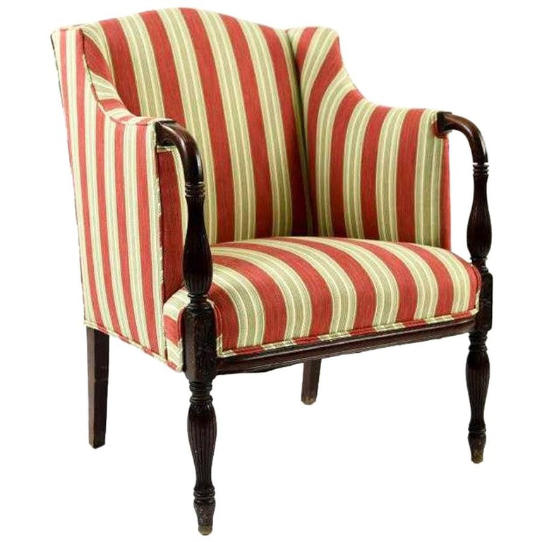 Vintage Sheraton-Style Upholstered Armchair For Sale