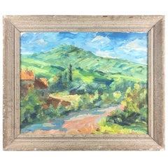 French Provencal Watercolor Landscape Painting by Victor Ferreri