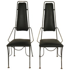 Pair of 1960s Sculptural Iron Side Chairs