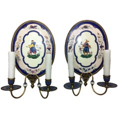 Pair of Hand Painted Enamel Two-Light Sconces with Figures, Early 20th Century