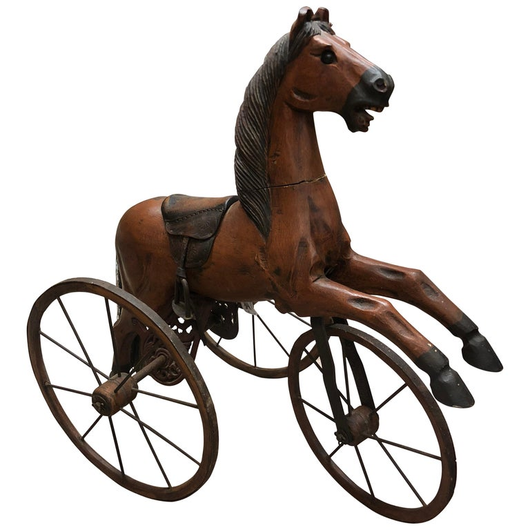 Authentic Tripod Children's Wooden Rocking Horse 19th Century For Sale