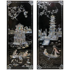 Asian Black Lacquered Mother of Pearl Small Wall Panels Chinese Geishas