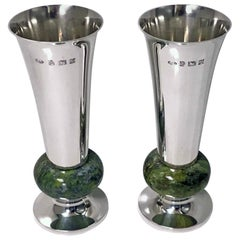 Pair of A E Jones Sterling Silver and Marble Vases, Birmingham, 1972