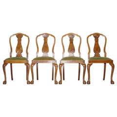 Four Solid Walnut Dining Chairs Claw & Ball Legs, circa 1940 Chippendale Style 4