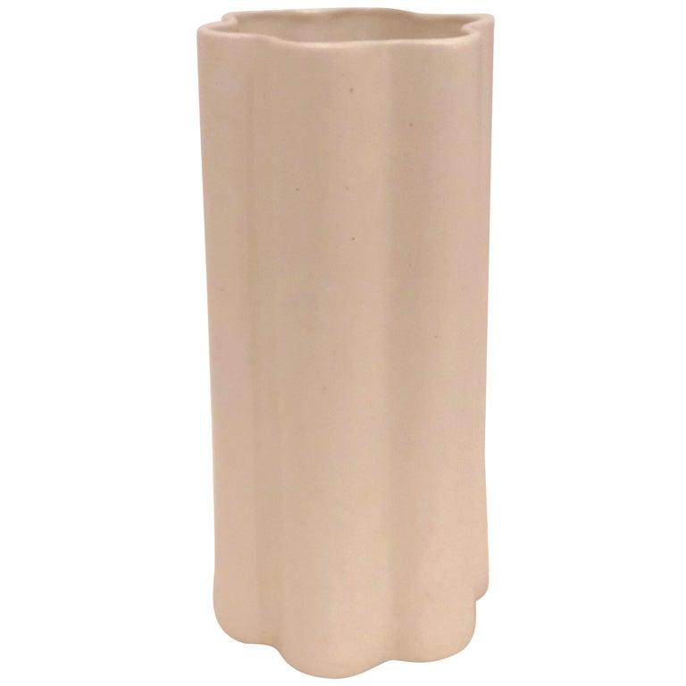 American Midcentury White Mate Tall Ceramic Vase For Sale