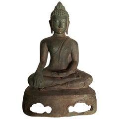 Antique Seated Enlightenment  Shakymuni Buddha, Hand Cast Bronze 19th Century