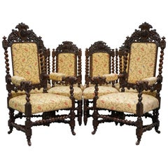 Set of 10, circa 1800 Oak Jacobean Style Dining Chairs with Dog Head Cresting