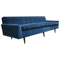 Milo Baughman For Thayer Coggin Walnut Sofa In Blue Mohair