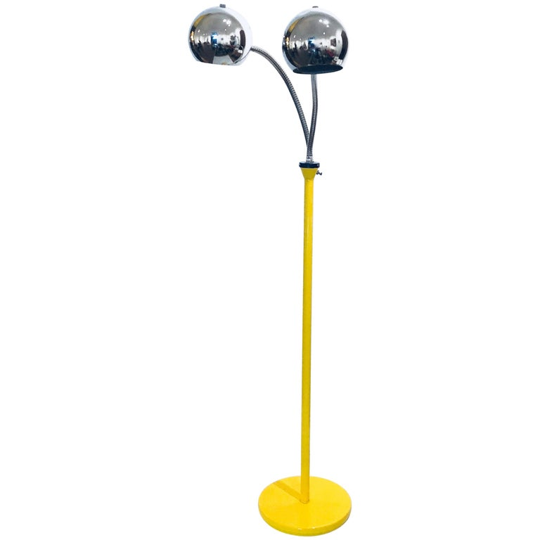 Space Age Gooseneck Double Head Multi-Position Floor Lamp For Sale