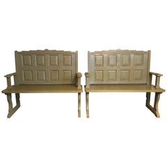 Pair of Olive Painted Hall Benches