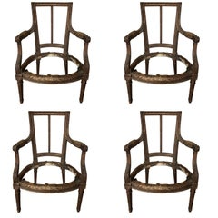Suite of Four Louis XVI Style Chair Frames