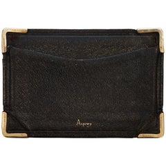 Rare Asprey London, 1930s 9-carat Gold Black Leather Credit Business Card Case