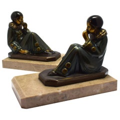 Art Deco 1930s Matching Pair of Figural Bookends