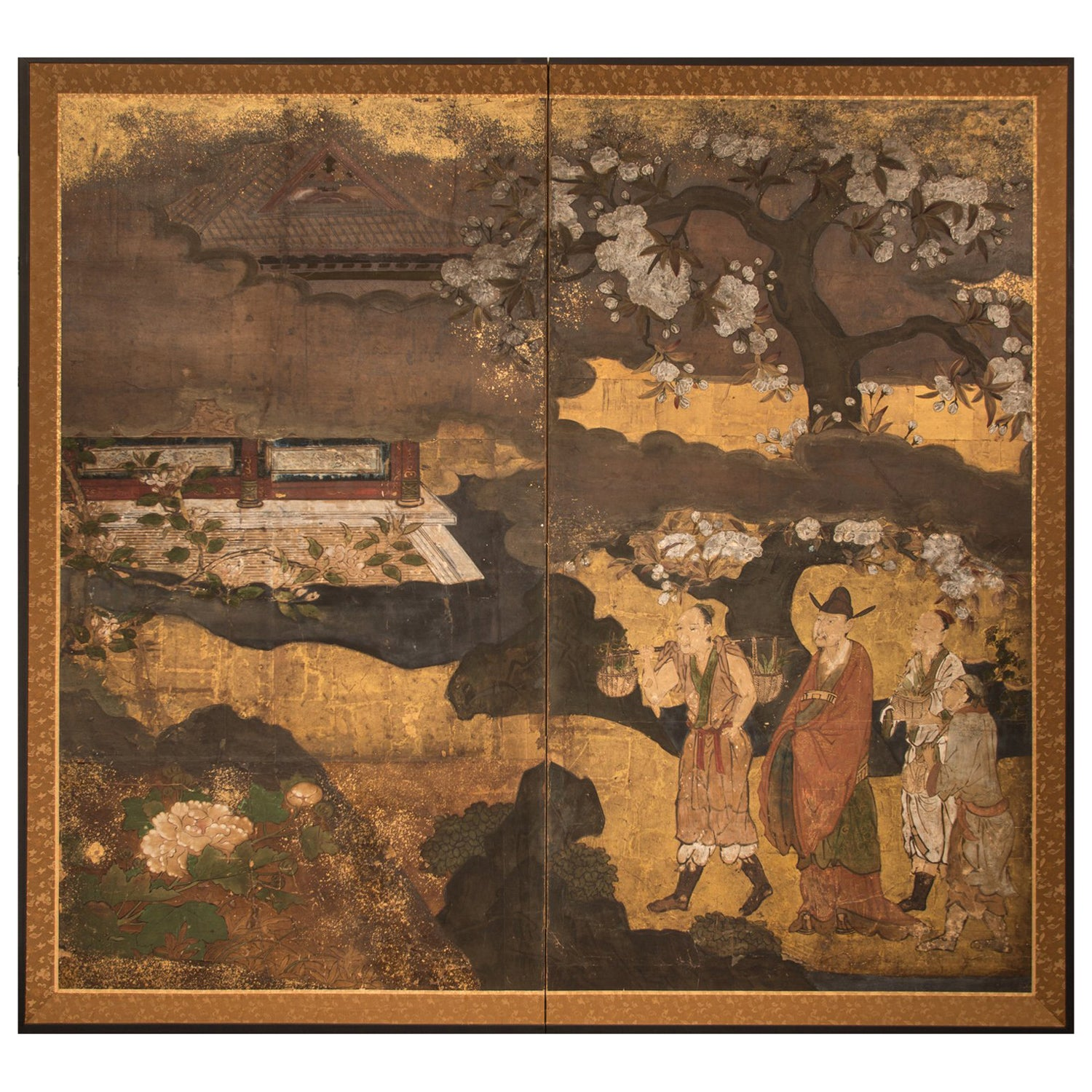 "Japanese Two-Panel Screen ""Court Figures in a Garden"""