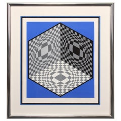 Victor Vasarely Artist Edition Serigraph 1/20 Signed and Framed, Arcay, Paris