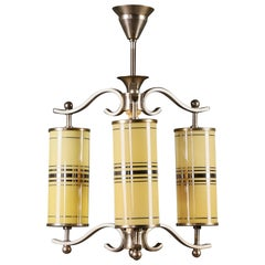 Art Deco Chandelier with Yellow Glasses