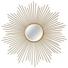 Midcentury Sunburst Shape Mirror with Gilt Tapered Solid Rods