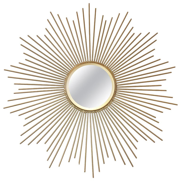 Midcentury Sunburst Shape Mirror with Gilt Tapered Solid Rods For Sale