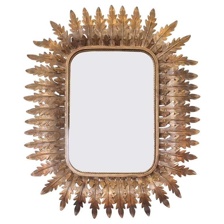 French Art Deco Aged Gilt Acanthus Leaf Raised Mirror For Sale