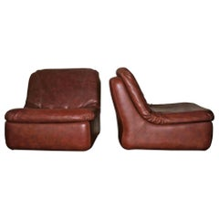Midcentury Pair of Modular Sofa Elements in Brown Leather
