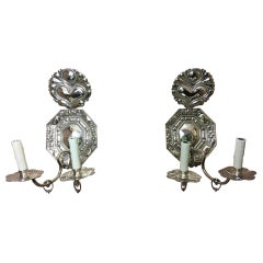 Pair of Silver Dutch Two-Light Sconces, Late 19th Century