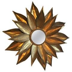 Midcentury Brass Flower Petal Mirror