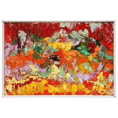 Postmodern Abstraction oil on canvas, Arnold Schreibman, 1991, Red yellow green