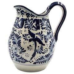 Authentic Talavera Blue Pitcher Puebla Ceramic Traditional Mexican Decorative