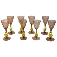 Eight Exquisite Amethyst and Gold Infused Murano Swan Wine Goblets by Salviati