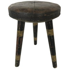 Swedish Leather Topped Stool with Black and Gold Striped Legs