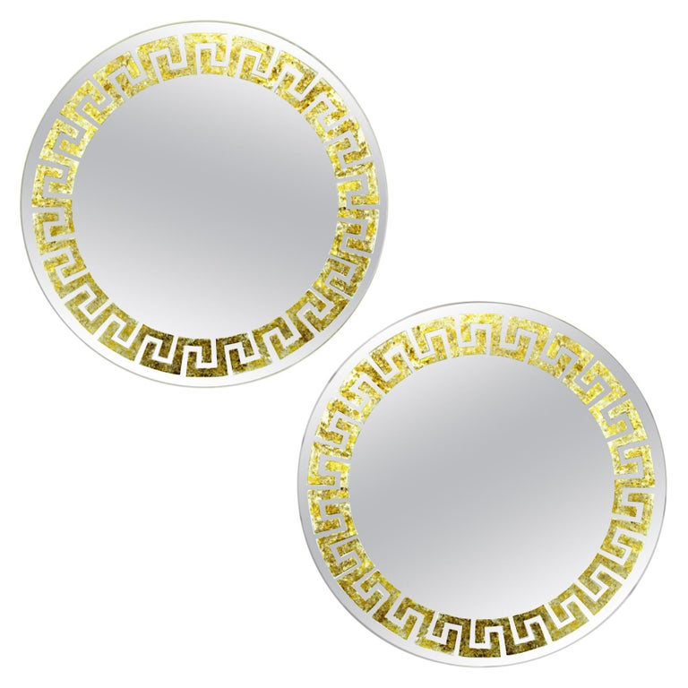 Pair of Greek Key Mirrors by David Marshall For Sale