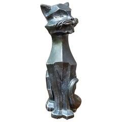 Cubist Figurine of a Cat Dated 1961